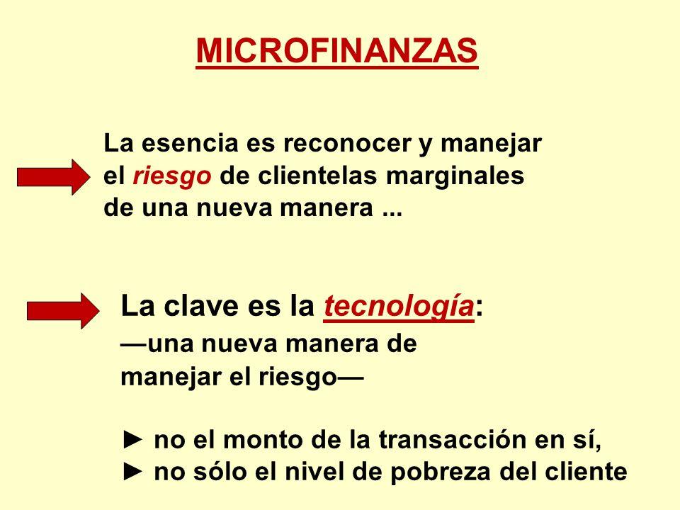 MICROFINANZAS La esencia es reconocer y manejar el riesgo de clientelas marginales de una nueva manera... La clave es la tecnología: una nueva manera