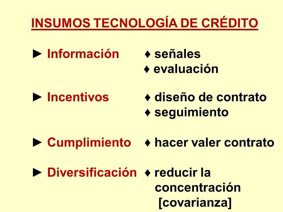 INSUMOS TECNOLOGÍA DE CRÉDITO Información señales evaluación Incentivos diseño de contrato seguimiento Cumplimiento hacer valer contrato Diversificaci
