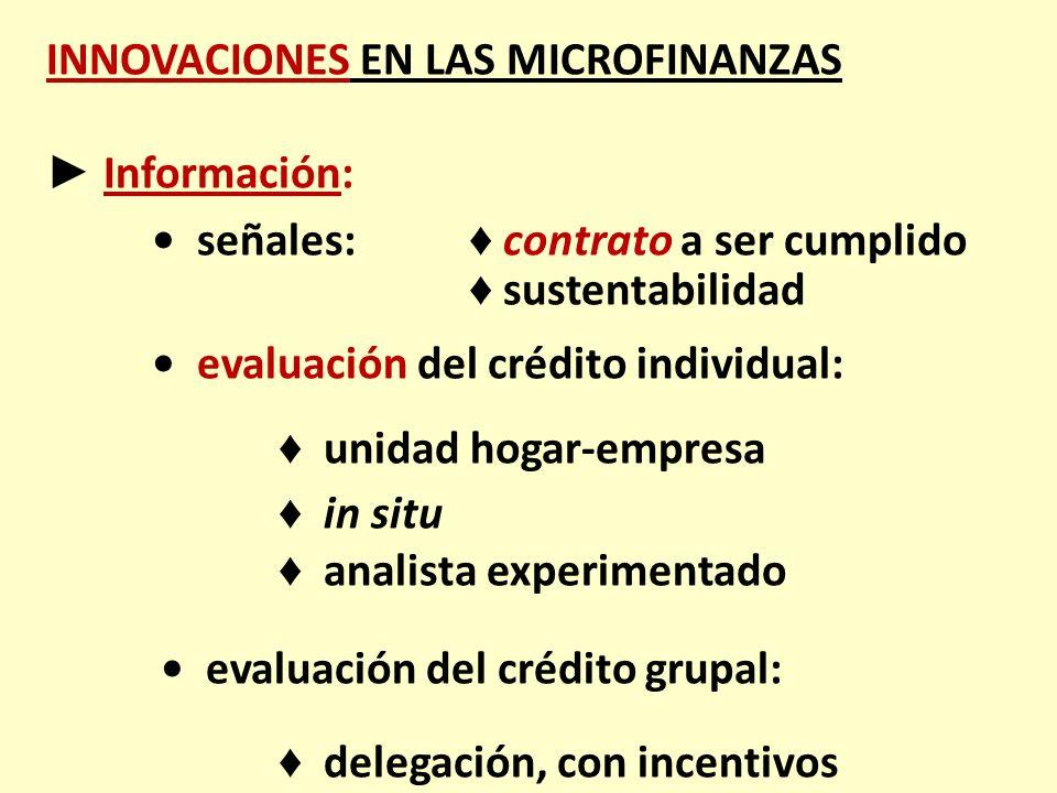 INNOVACIONES EN LAS MICROFINANZAS Información: señales: contrato a ser cumplido sustentabilidad evaluación del crédito individual: unidad hogar-empres
