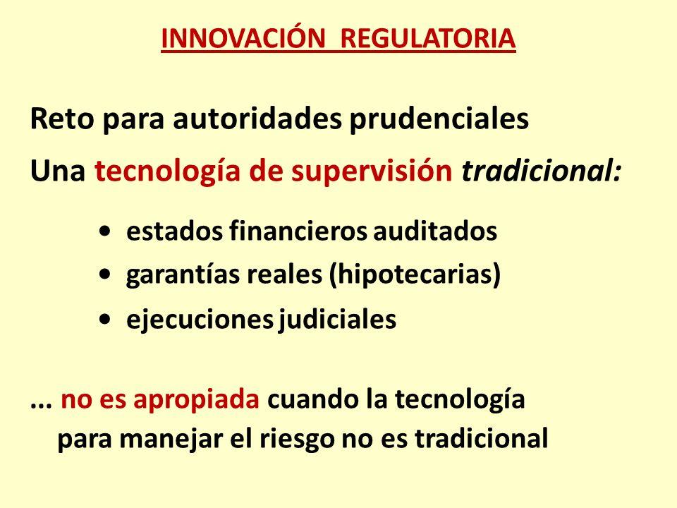 Reto para autoridades prudenciales Una tecnología de supervisión tradicional: estados financieros auditados garantías reales (hipotecarias) ejecucione