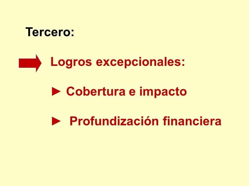 Tercero: Logros excepcionales: Cobertura e impacto Profundización financiera