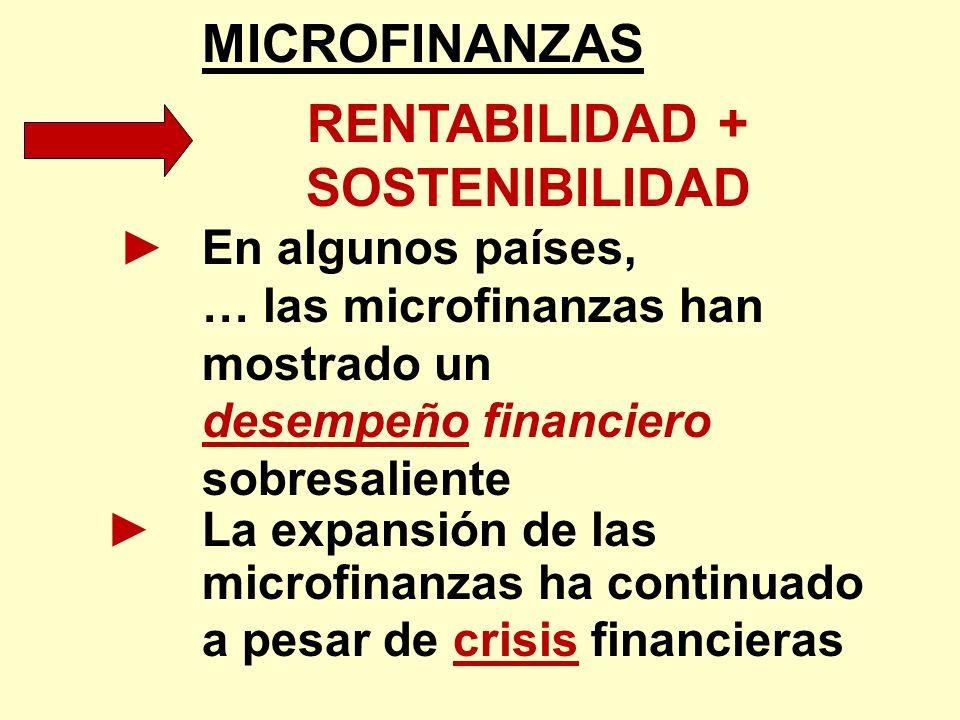 MICROFINANZAS RENTABILIDAD + SOSTENIBILIDAD En algunos países, … las microfinanzas han mostrado un desempeño financiero sobresaliente La expansión de