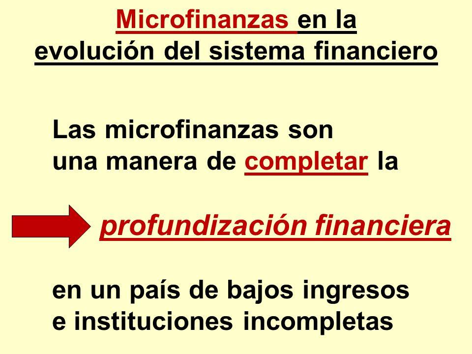 Microfinanzas en la evolución del sistema financiero Las microfinanzas son una manera de completar la profundización financiera en un país de bajos in