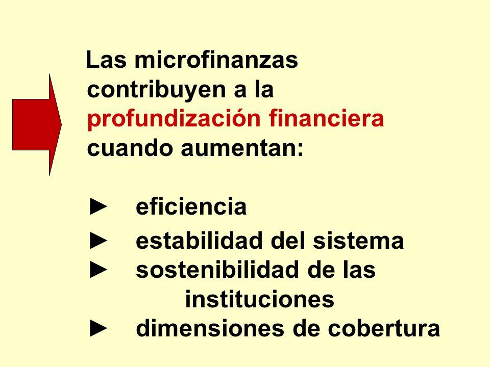 Las microfinanzas contribuyen a la profundización financiera cuando aumentan: eficiencia estabilidad del sistema sostenibilidad de las instituciones d