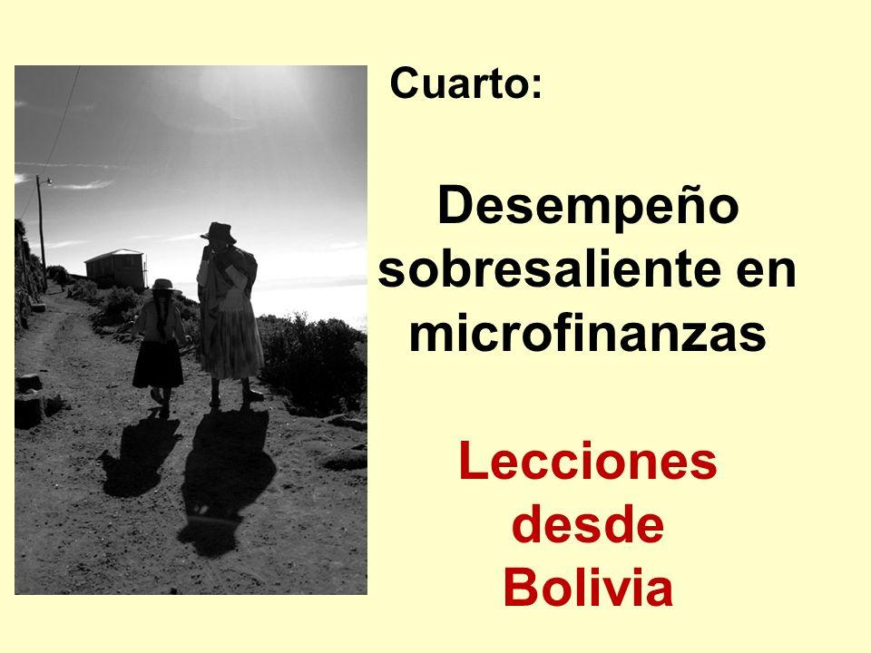 Cuarto: Desempeño sobresaliente en microfinanzas Lecciones desde Bolivia