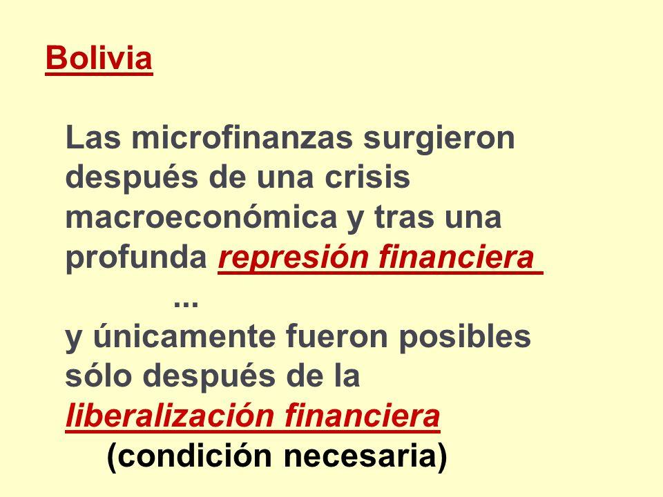 Las microfinanzas surgieron después de una crisis macroeconómica y tras una profunda represión financiera... y únicamente fueron posibles sólo después