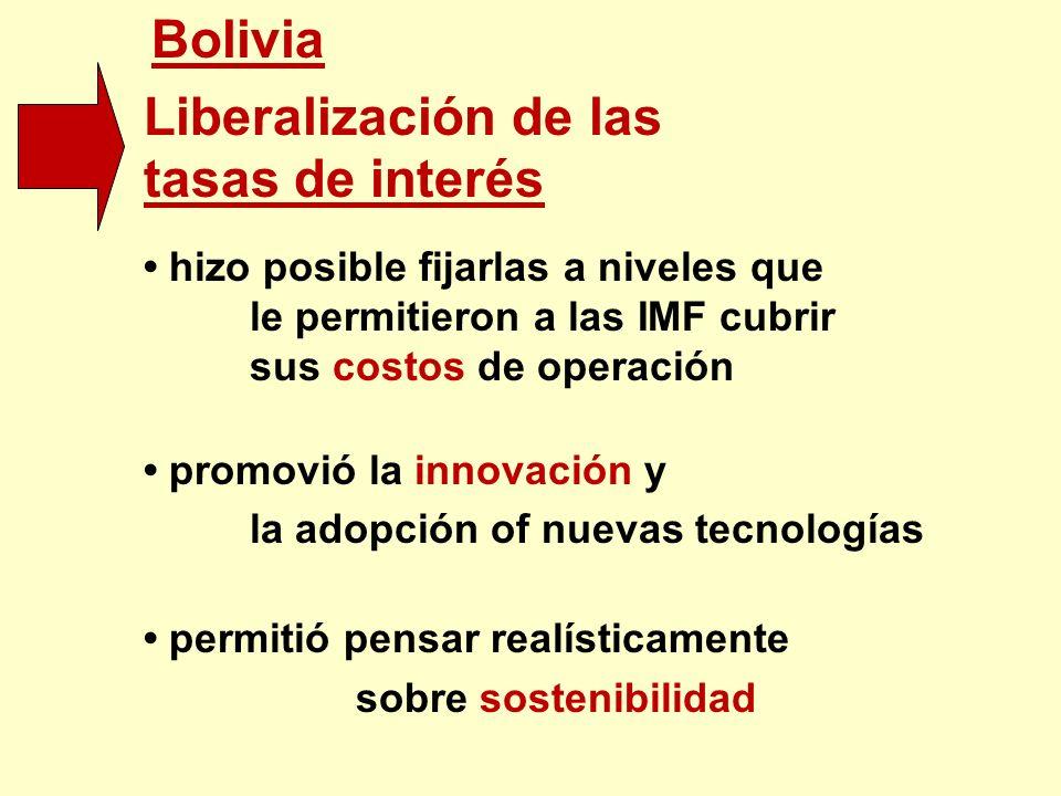 Bolivia Liberalización de las tasas de interés hizo posible fijarlas a niveles que le permitieron a las IMF cubrir sus costos de operación promovió la