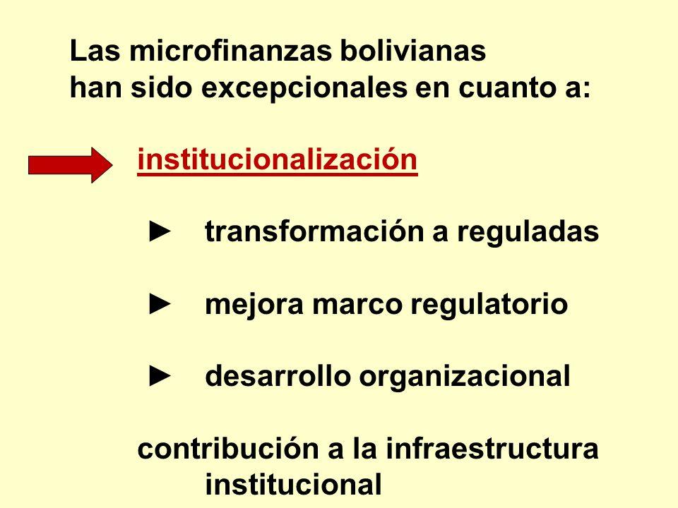 Las microfinanzas bolivianas han sido excepcionales en cuanto a: institucionalización transformación a reguladas mejora marco regulatorio desarrollo o