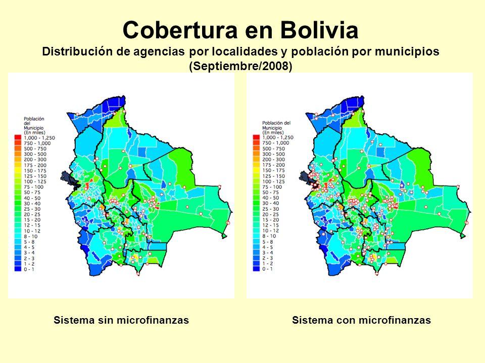 Cobertura en Bolivia Distribución de agencias por localidades y población por municipios (Septiembre/2008) Sistema sin microfinanzasSistema con microf