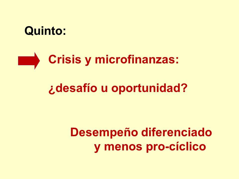 Quinto: Crisis y microfinanzas: ¿desafío u oportunidad? Desempeño diferenciado y menos pro-cíclico