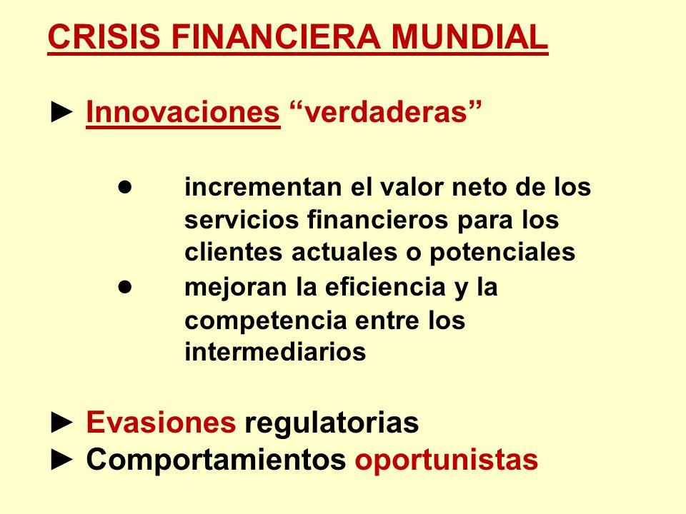 CRISIS FINANCIERA MUNDIAL Innovaciones verdaderas incrementan el valor neto de los servicios financieros para los clientes actuales o potenciales mejo