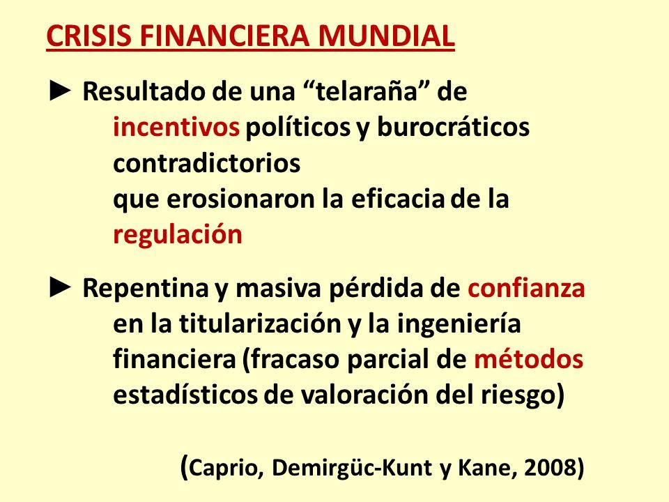 CRISIS FINANCIERA MUNDIAL Resultado de una telaraña de incentivos políticos y burocráticos contradictorios que erosionaron la eficacia de la regulació