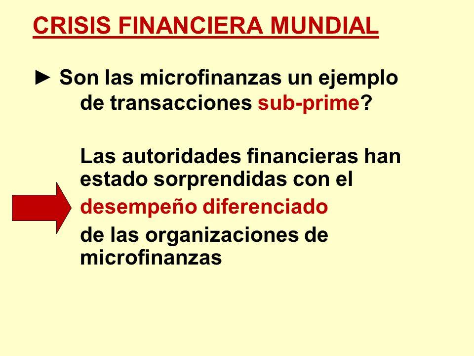 CRISIS FINANCIERA MUNDIAL Son las microfinanzas un ejemplo de transacciones sub-prime? Las autoridades financieras han estado sorprendidas con el dese
