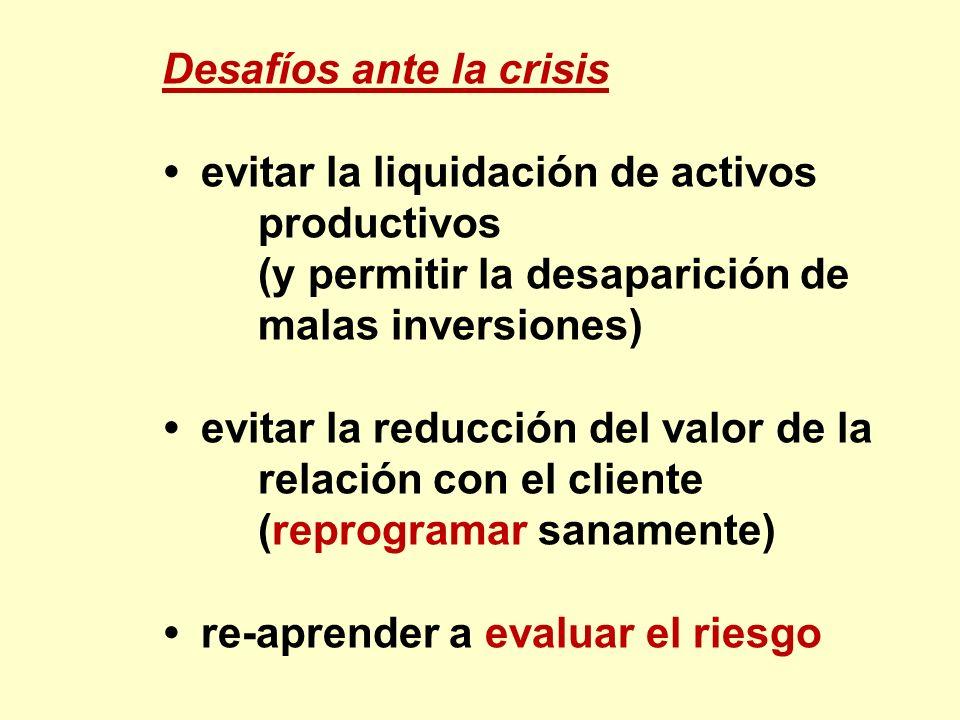 Desafíos ante la crisis evitar la liquidación de activos productivos (y permitir la desaparición de malas inversiones) evitar la reducción del valor d