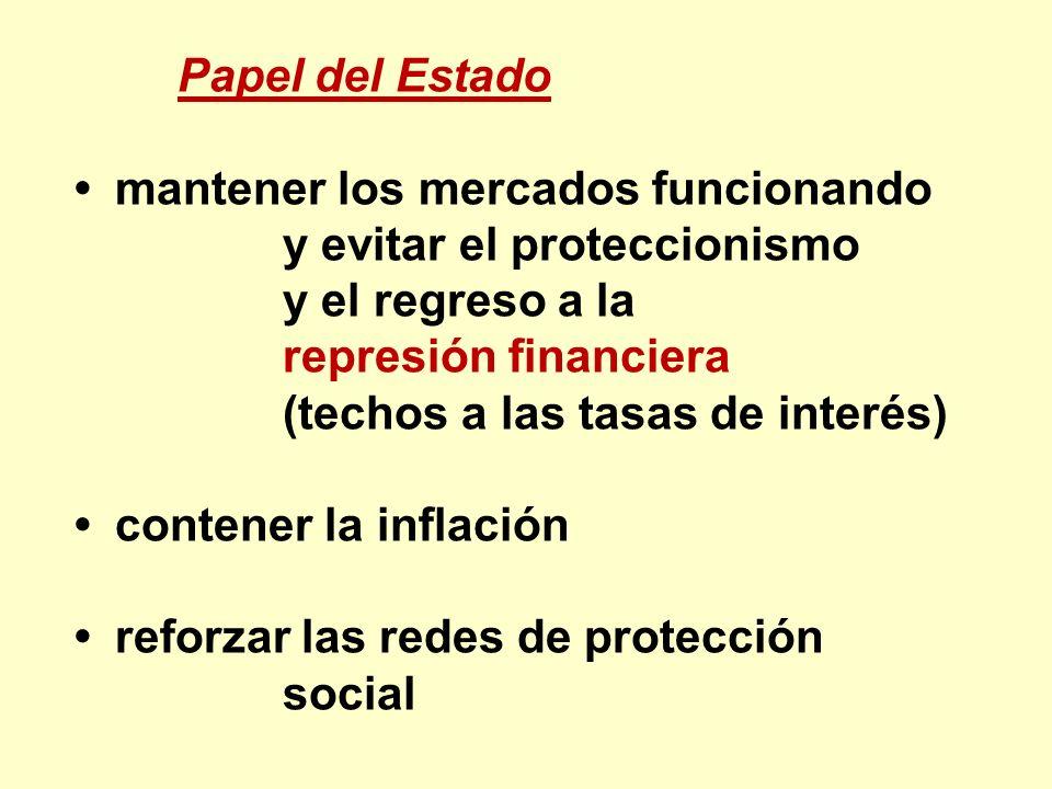 Papel del Estado mantener los mercados funcionando y evitar el proteccionismo y el regreso a la represión financiera (techos a las tasas de interés) c