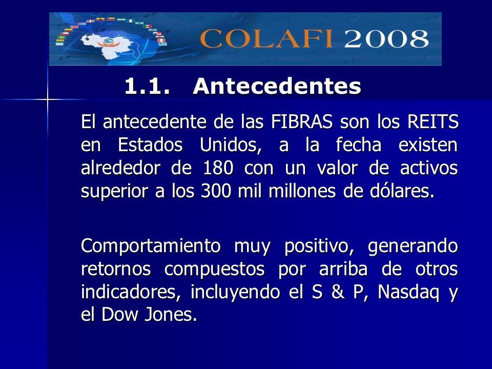 El antecedente de las FIBRAS son los REITS en Estados Unidos, a la fecha existen alrededor de 180 con un valor de activos superior a los 300 mil millo