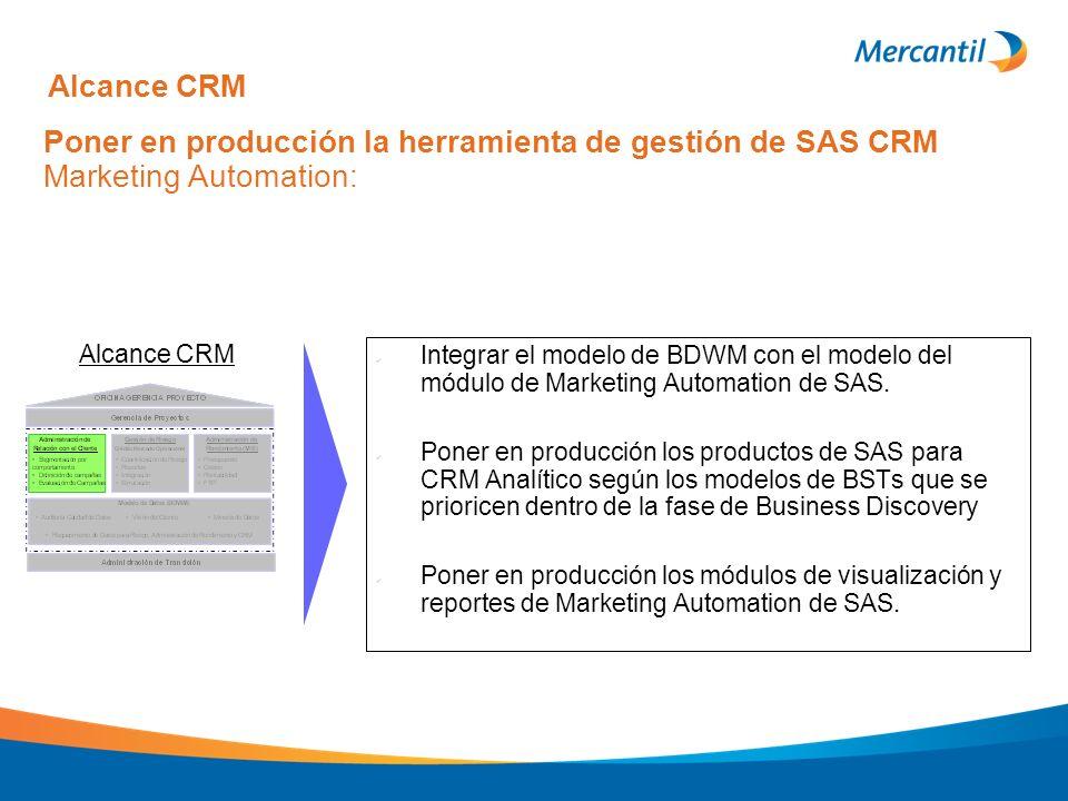 Poner en producción la herramienta de gestión de SAS CRM Marketing Automation: Integrar el modelo de BDWM con el modelo del módulo de Marketing Automa