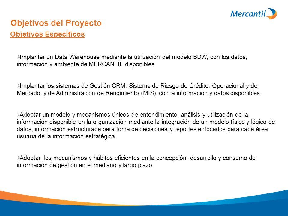 Objetivos Específicos Objetivos del Proyecto Implantar un Data Warehouse mediante la utilización del modelo BDW, con los datos, información y ambiente