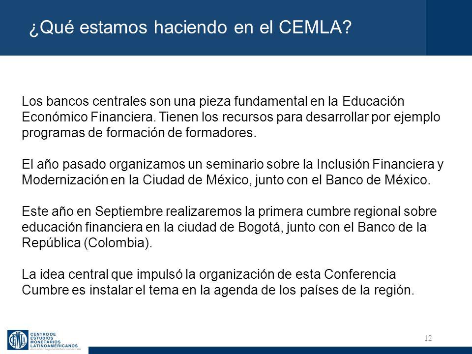 12 ¿Qué estamos haciendo en el CEMLA? Los bancos centrales son una pieza fundamental en la Educación Económico Financiera. Tienen los recursos para de