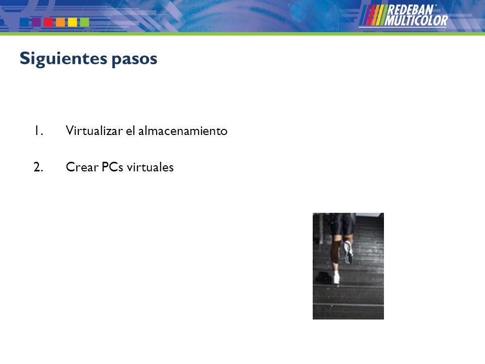 © 2008 Redeban Multicolor S.A. Todos los derechos reservados. 1.Virtualizar el almacenamiento 2.Crear PCs virtuales Siguientes pasos
