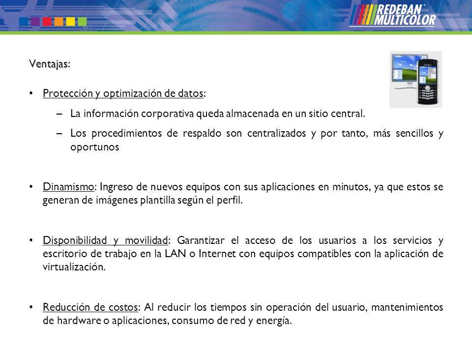 © 2008 Redeban Multicolor S.A. Todos los derechos reservados. Ventajas Ventajas: Protección y optimización de datos: –La información corporativa queda