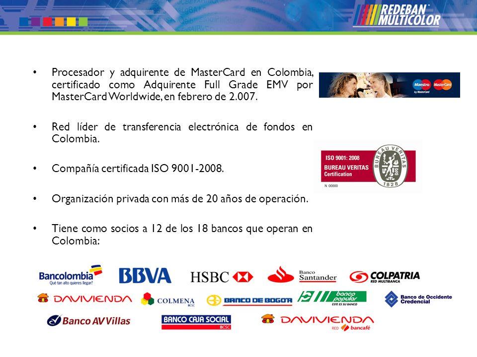© 2008 Redeban Multicolor S.A. Todos los derechos reservados. Procesador y adquirente de MasterCard en Colombia, certificado como Adquirente Full Grad