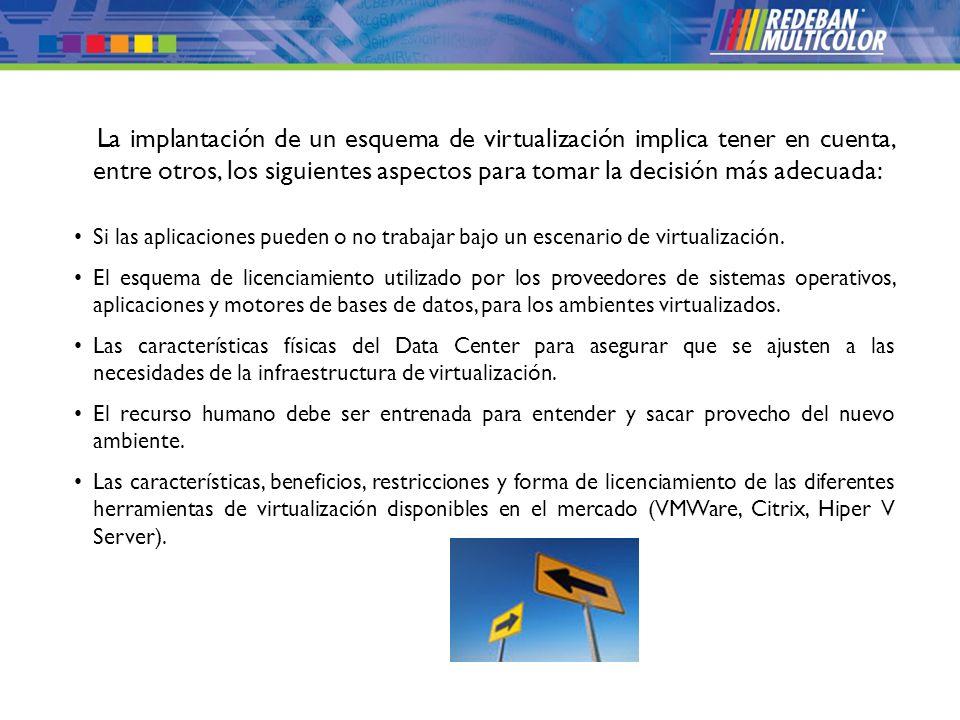 © 2008 Redeban Multicolor S.A. Todos los derechos reservados. La implantación de un esquema de virtualización implica tener en cuenta, entre otros, lo