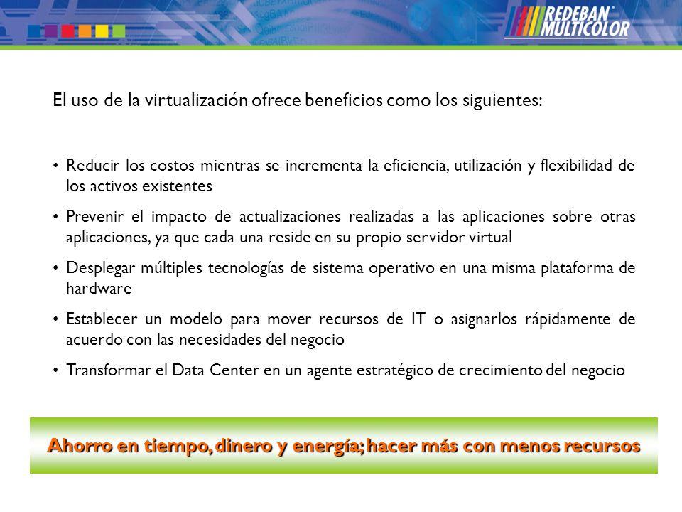 © 2008 Redeban Multicolor S.A. Todos los derechos reservados. El uso de la virtualización ofrece beneficios como los siguientes: Reducir los costos mi