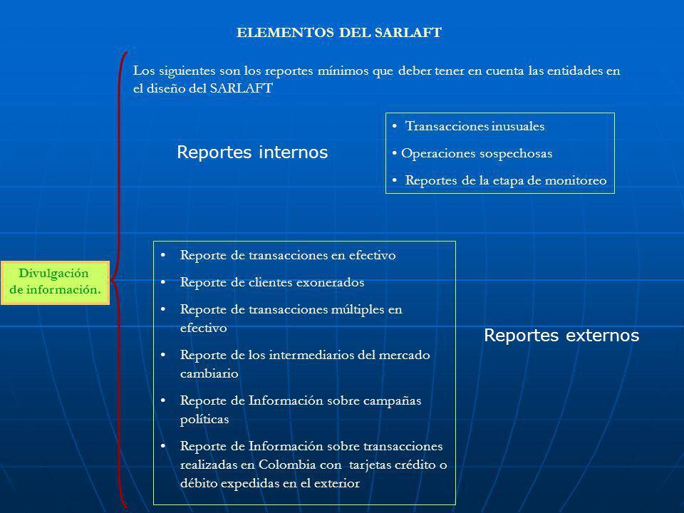 ELEMENTOS DEL SARLAFT Divulgación de información. Los siguientes son los reportes mínimos que deber tener en cuenta las entidades en el diseño del SAR