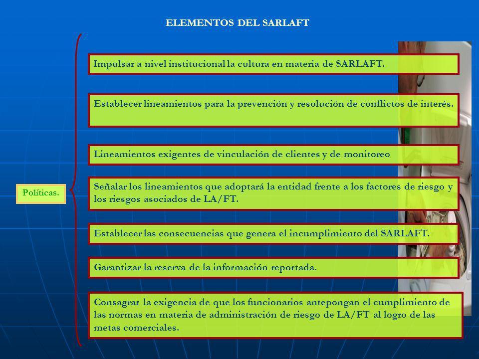 Políticas. ELEMENTOS DEL SARLAFT Establecer las consecuencias que genera el incumplimiento del SARLAFT. Consagrar la exigencia de que los funcionarios