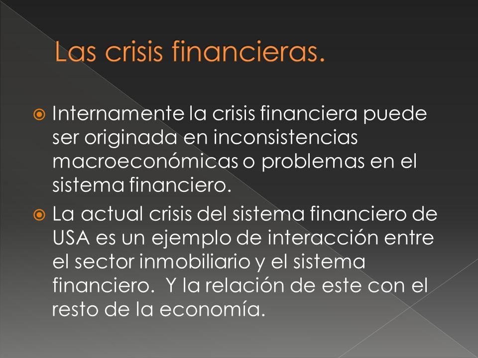 Internamente la crisis financiera puede ser originada en inconsistencias macroeconómicas o problemas en el sistema financiero.