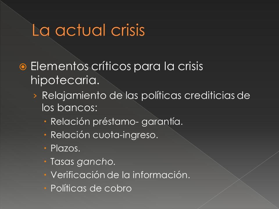 Elementos críticos para la crisis hipotecaria.