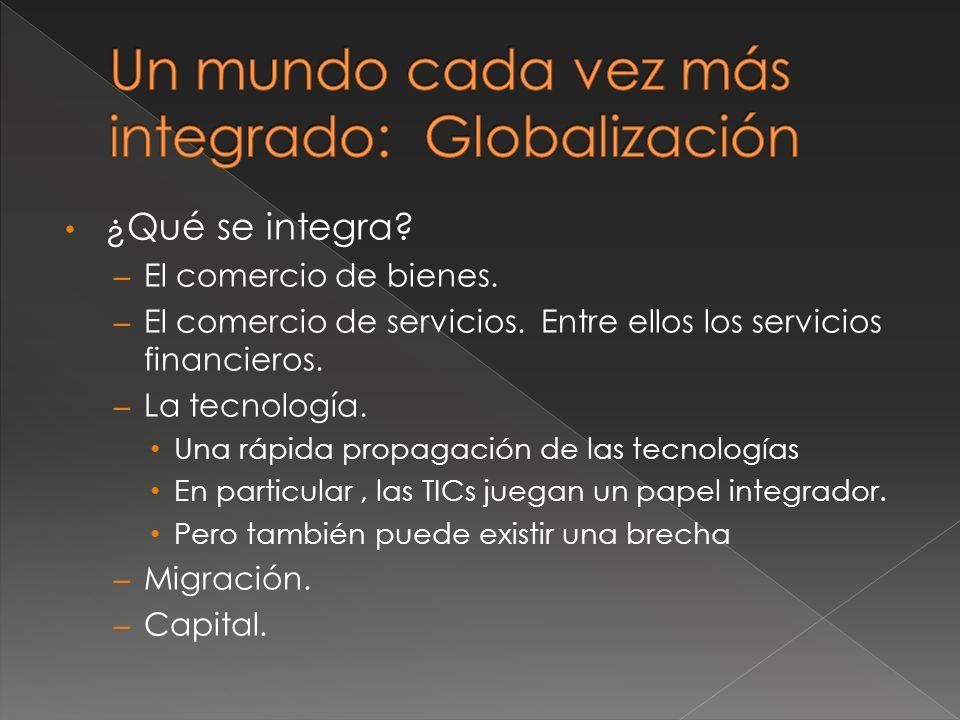 ¿Qué se integra. – El comercio de bienes. – El comercio de servicios.