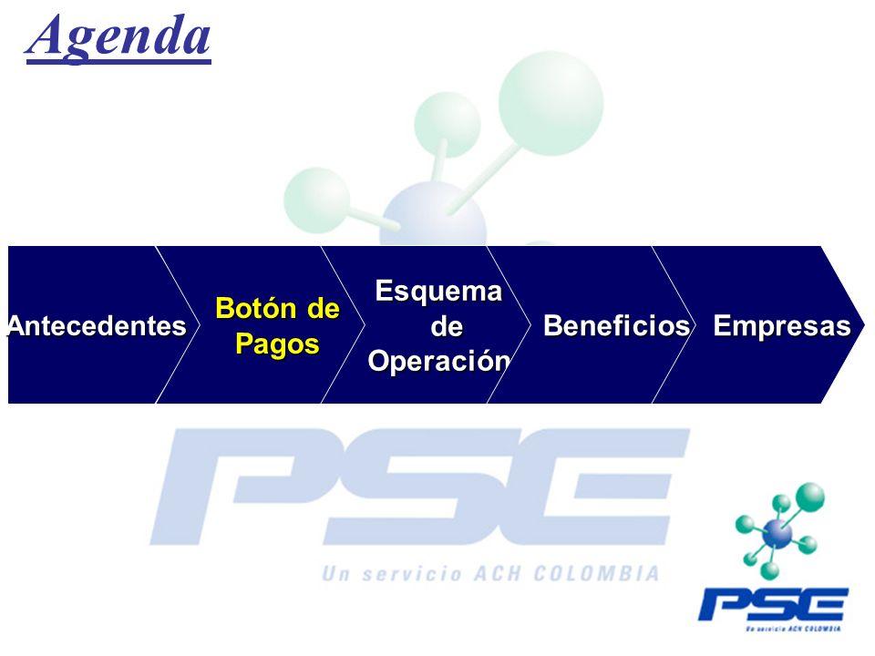 Agenda Antecedentes Antecedentes Botón de Botón de Pagos Pagos Esquema Esquema de de Operación Operación Beneficios Beneficios Empresas Empresas