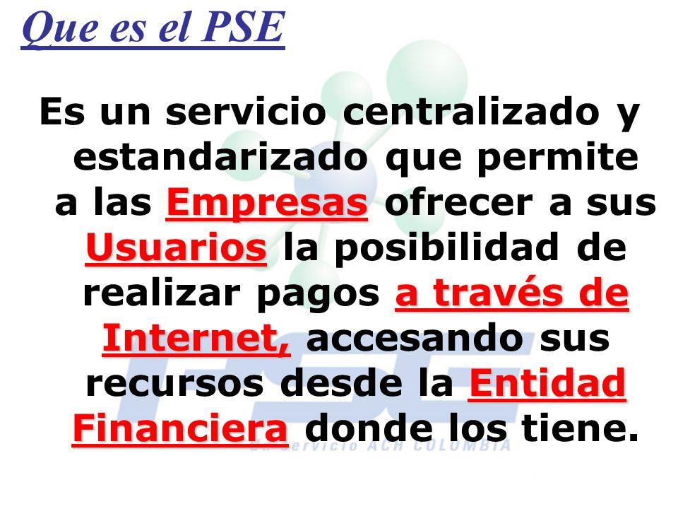 Que es el PSE Empresas Usuarios a través de Internet, Entidad Financiera Es un servicio centralizado y estandarizado que permite a las Empresas ofrece