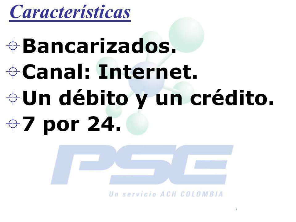 Características Bancarizados. Canal: Internet. Un débito y un crédito. 7 por 24.