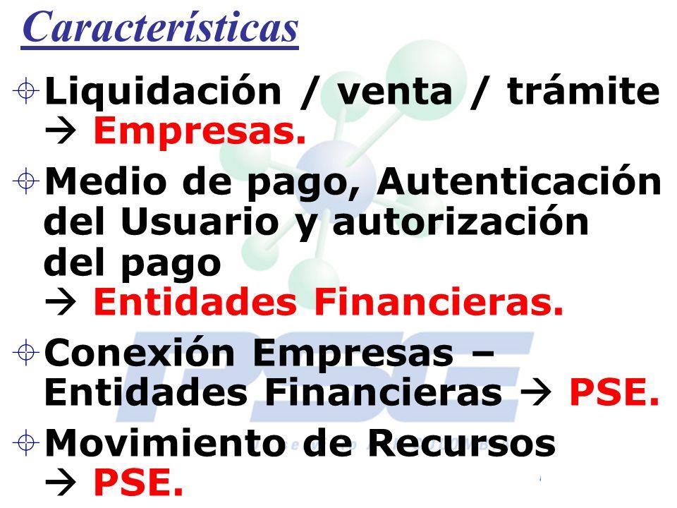 Características Liquidación / venta / trámite Empresas. Medio de pago, Autenticación del Usuario y autorización del pago Entidades Financieras. Conexi