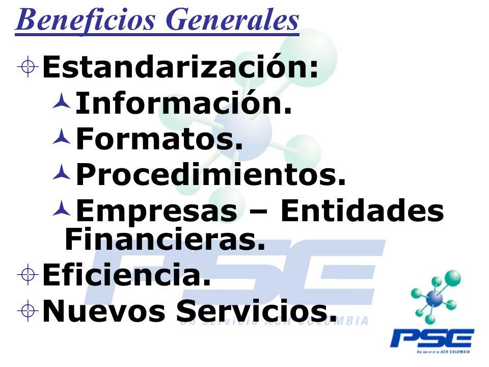 Beneficios Generales Estandarización: Información. Formatos. Procedimientos. Empresas – Entidades Financieras. Eficiencia. Nuevos Servicios.