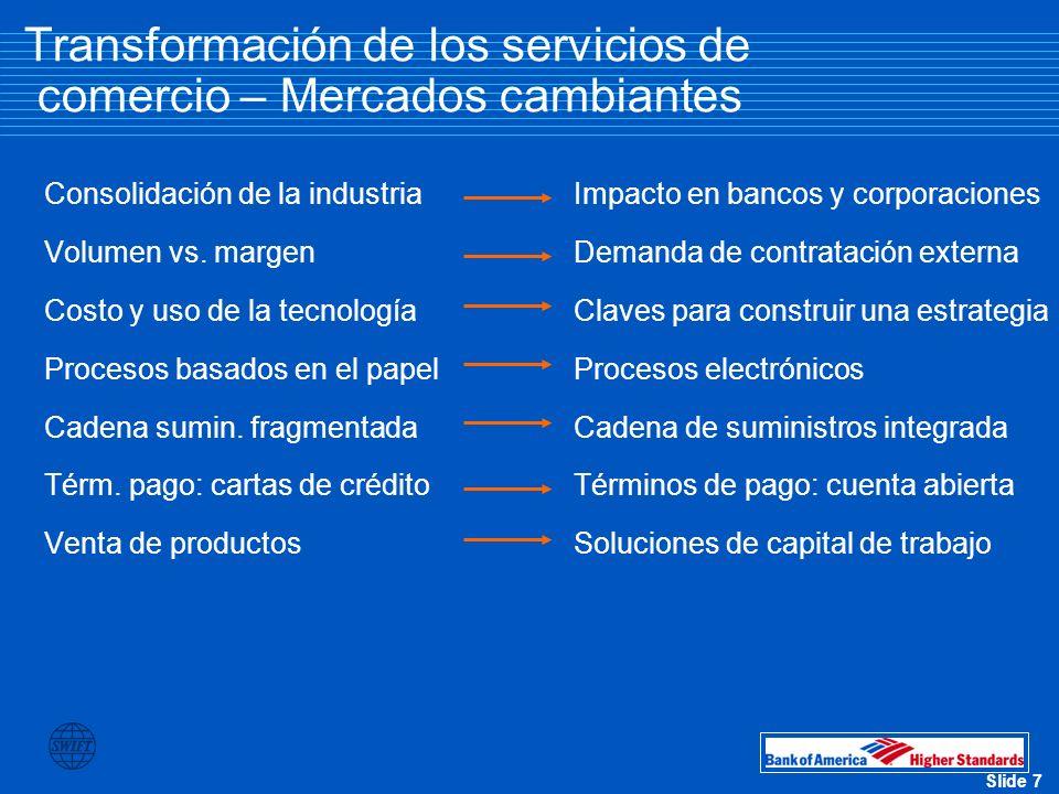 Slide 8 Transformación de los servicios de comercio – Consolidación de la industria (los 50 bancos más grandes de EE.
