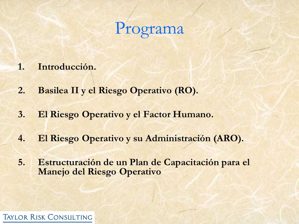 Programa 1.Introducción. 2.Basilea II y el Riesgo Operativo (RO). 3.El Riesgo Operativo y el Factor Humano. 4.El Riesgo Operativo y su Administración