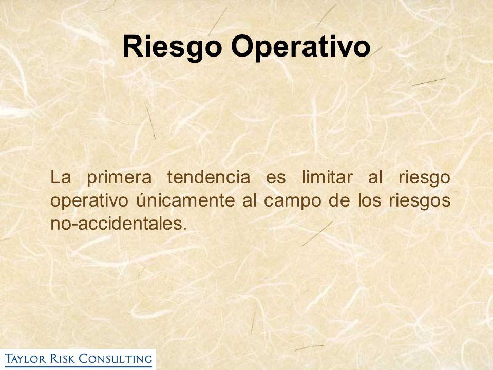 Riesgo Operativo La primera tendencia es limitar al riesgo operativo únicamente al campo de los riesgos no-accidentales.