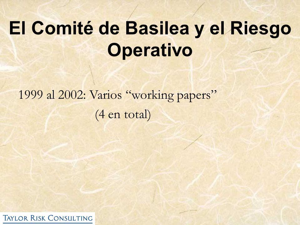 El Comité de Basilea y el Riesgo Operativo 1999 al 2002: Varios working papers (4 en total)