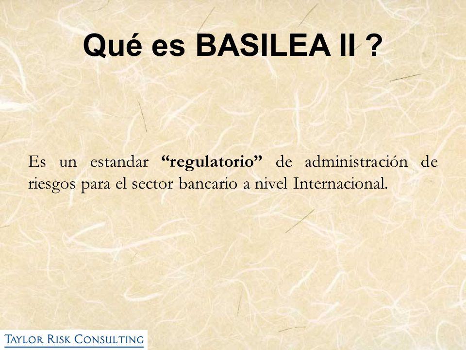 Es un estandar regulatorio de administración de riesgos para el sector bancario a nivel Internacional. Qué es BASILEA II ?