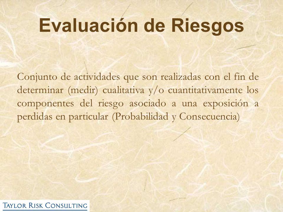 Evaluación de Riesgos Conjunto de actividades que son realizadas con el fin de determinar (medir) cualitativa y/o cuantitativamente los componentes de