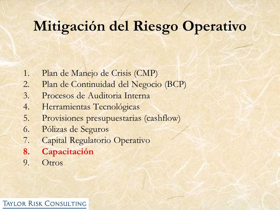 1.Plan de Manejo de Crisis (CMP) 2.Plan de Continuidad del Negocio (BCP) 3.Procesos de Auditoria Interna 4.Herramientas Tecnológicas 5.Provisiones pre