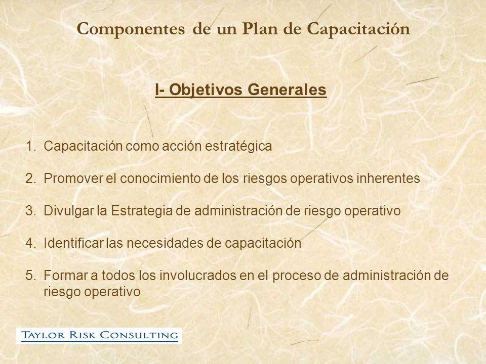 Componentes de un Plan de Capacitación I- Objetivos Generales 1.Capacitación como acción estratégica 2.Promover el conocimiento de los riesgos operati