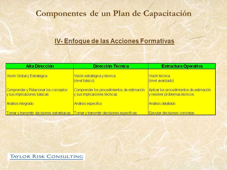 Componentes de un Plan de Capacitación IV- Enfoque de las Acciones Formativas