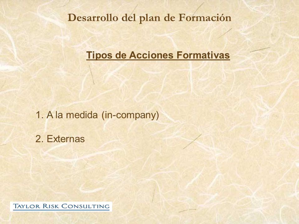 Desarrollo del plan de Formación Tipos de Acciones Formativas 1.A la medida (in-company) 2.Externas