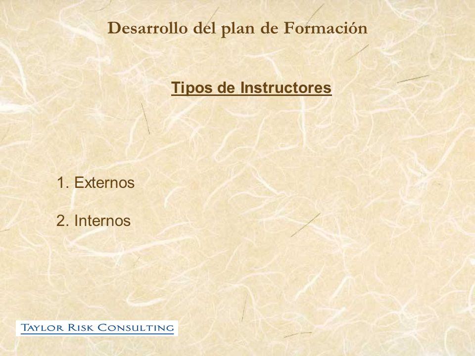 Desarrollo del plan de Formación Tipos de Instructores 1.Externos 2.Internos