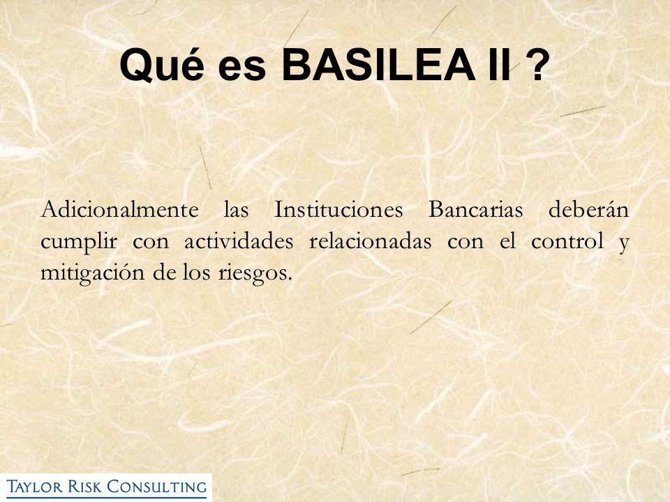 Qué Riesgos se Regulan en BASILEA II Riesgo de Crédito (Basilea I: 1988) Riesgo de Mercado (Enmienda a Basilea I: 1996) Riesgo Operativo (Basilea II: 2004)